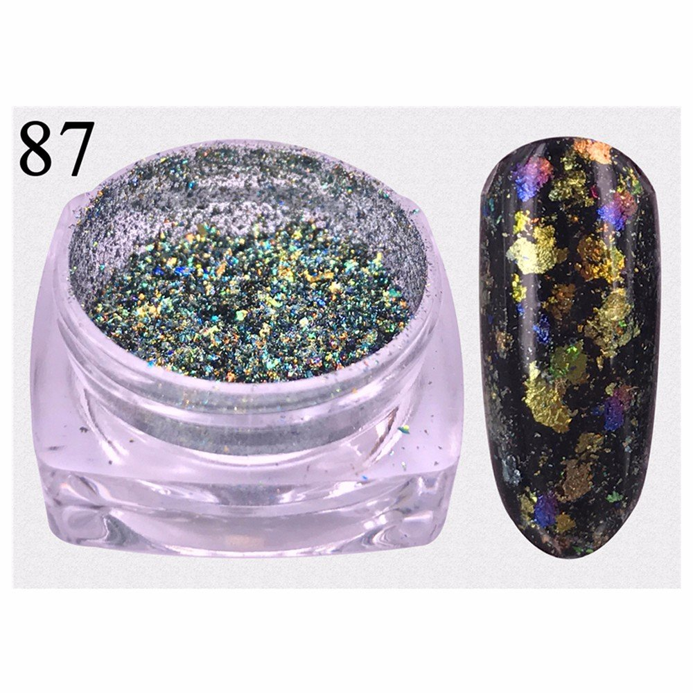 Mumustar Chameleon Chrome Nail Powder Flakes Manicure Glitter Aluminum Magic Mirror Effect Sequins Pigment Dust Irregular Reflective Nail Art Decoration (B)