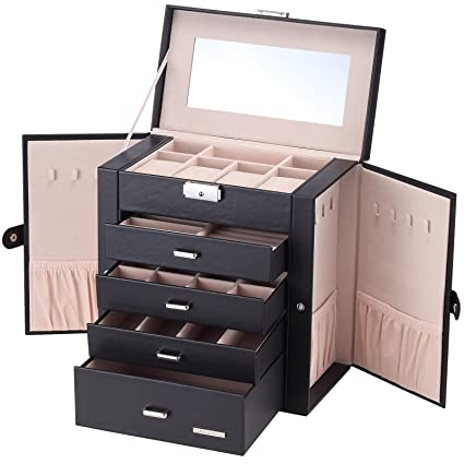 Amazoncom Homde Synthetic Leather Huge Jewelry Box Mirrored Watch