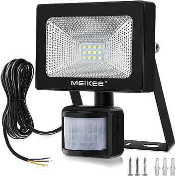 MEIKEE 10W Foco LED Exterior, Foco LED con Sensor Movimiento 1000LM, MejoradoLuz Impermeable IP66, Luces de Seguridad Floodlight Led con Detector para Jardín, Garaje - Blanco Frío(6000K): Amazon.es: Bricolaje y herramientas