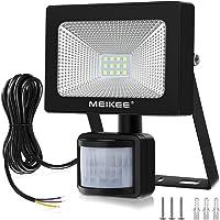 MEIKEE 10W Foco LED Exterior, Foco LED con Sensor Movimiento 1000LM, MejoradoLuz Impermeable IP66, Luces de Seguridad Floodlight Led con Detector para Jardín, Garaje - Blanco Frío(6000K)