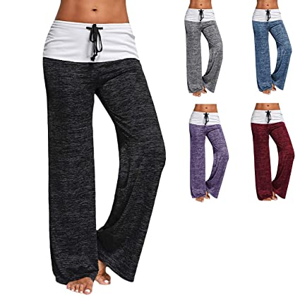 5a6a3f2193c Amazon.com   RIOJOY Women Wide Leg Yoga Trousers