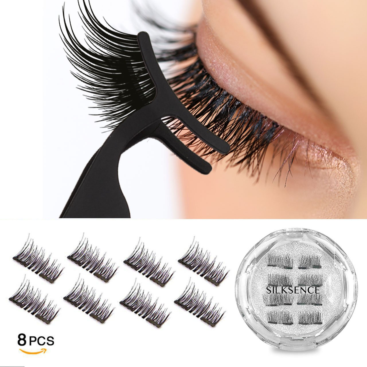 Silksence Dual Magnetic Eyelashes 0.2mm Ultra Thin Magnet Lightweight & Easy to Wear Best 3D Reusable Eyelashes Extensions With Applicator (8 PC)