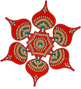 "Aditri Creation Rangoli/Home Decor/Diwali/Gift for Home/Interior Handcrafted/Floor Stickers/Wall Stickers/Wall Decoration/Floor Decoration/New Year Gift/Party. Small Rangoli 10"""