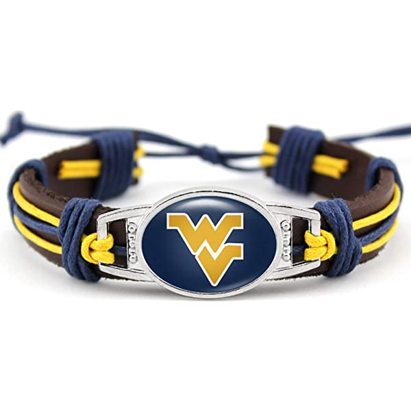 HPS West Virginia Mountaineers Paracord Bracelet with Adjustable Catch 7 to 9