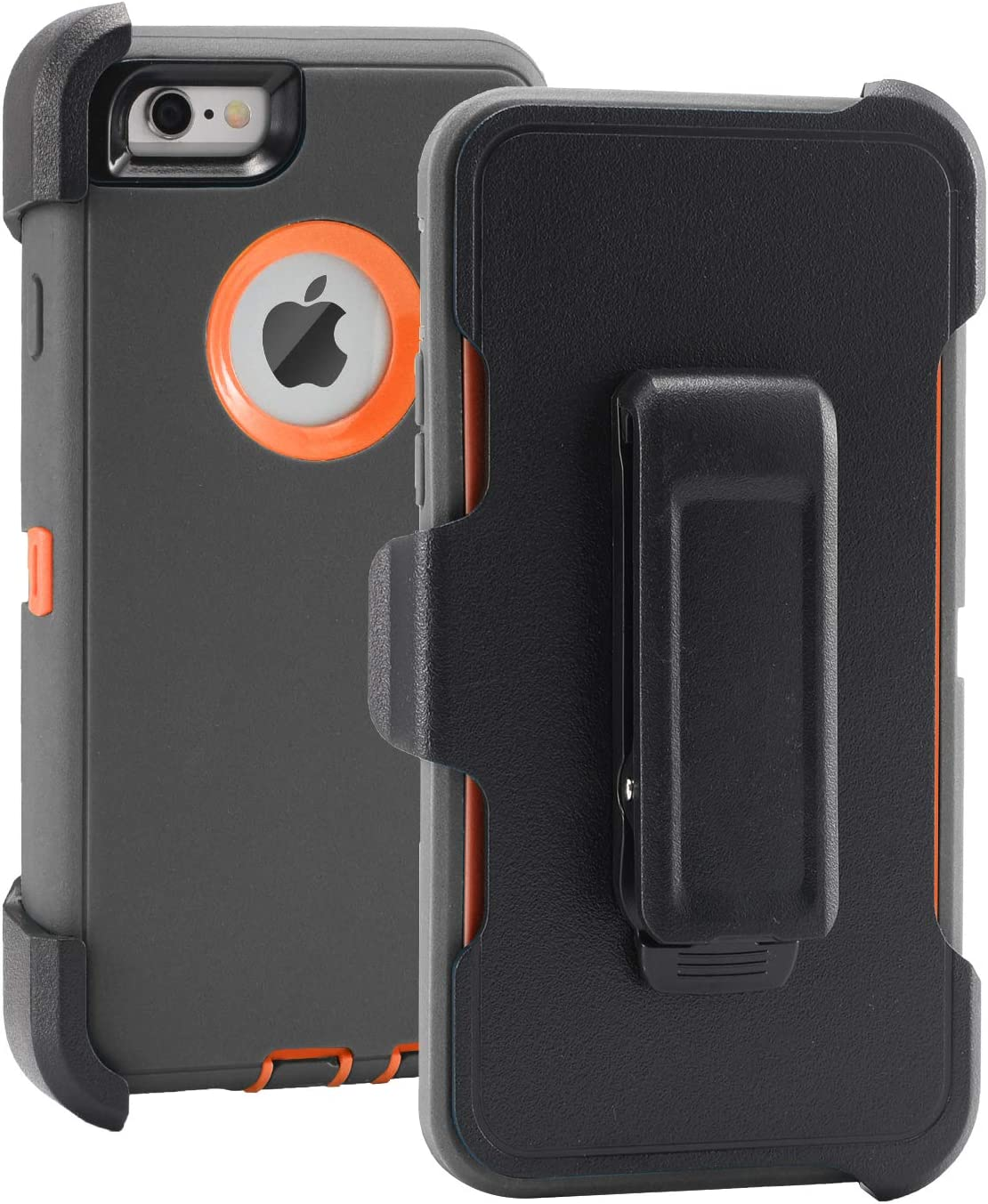 "iPhone 6/6s Case, 3 in 1 [Heavy Duty] Rugged Dust-Proof Shockproof Drop-Proof Scratch-Resistant Case with Built-in Screen Protector and Holster 4.7"" (Grey)"