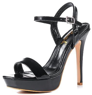 ac031c7ab92ec YooPrettyz Women Metallic Stiletto Heels Strappy Party Dress Pump Ankle  Strap Sandal Heels Black 4