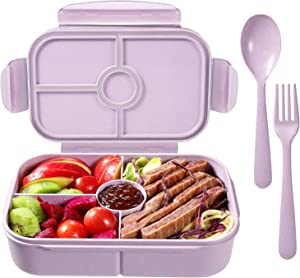 Bento Box for Kids Lunch Containers with 4 Compartments Kids Bento Lunch Box Microwave/Freezer/Dishwasher Safe (Flatware Included,Light Purple)