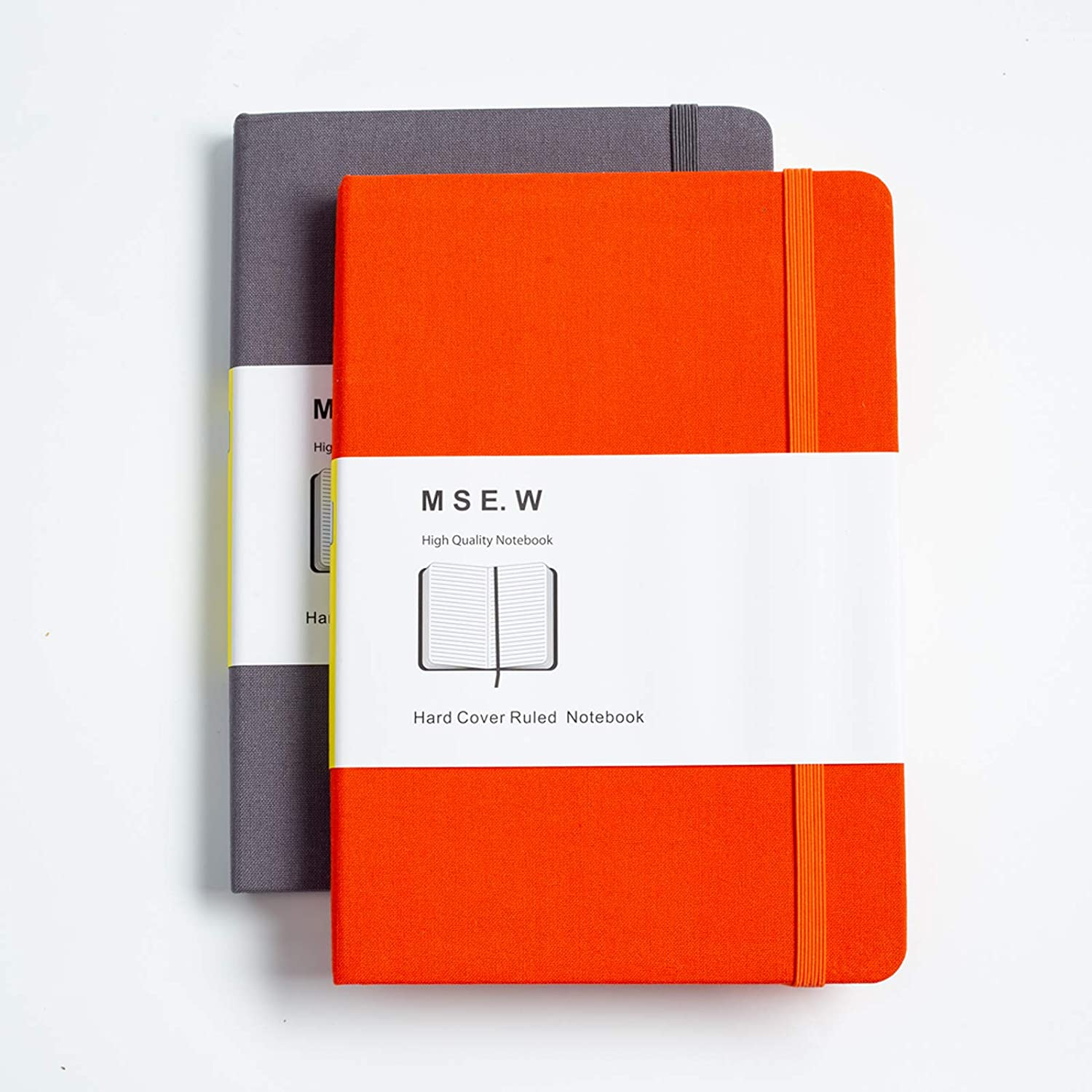 MSE.W Notebook Journal Lined 2 Pack, 5.7x8 Inches A5 Hardcover Travel Diary Set with Gift Box, Thick Paper and Lay Flat for Easy Writing, with Inner Pocket and Elastic Closure (Orange, Gray)