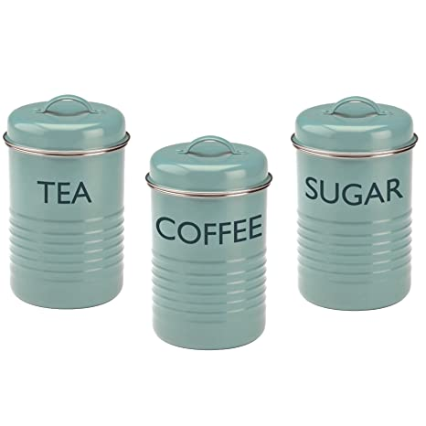 Merveilleux Typhoon Vintage Kitchen Tea/Coffee/Sugar Canisters, Summer House Blue, Set  Of