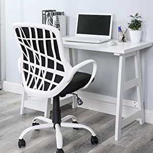 HOMY CASA Modern Fabric Computer Home Office Task Chair Ergonomic Mid Back Mesh Office Chair with Adjustable and Height 360 Degree Castor Wheels for Home, Office