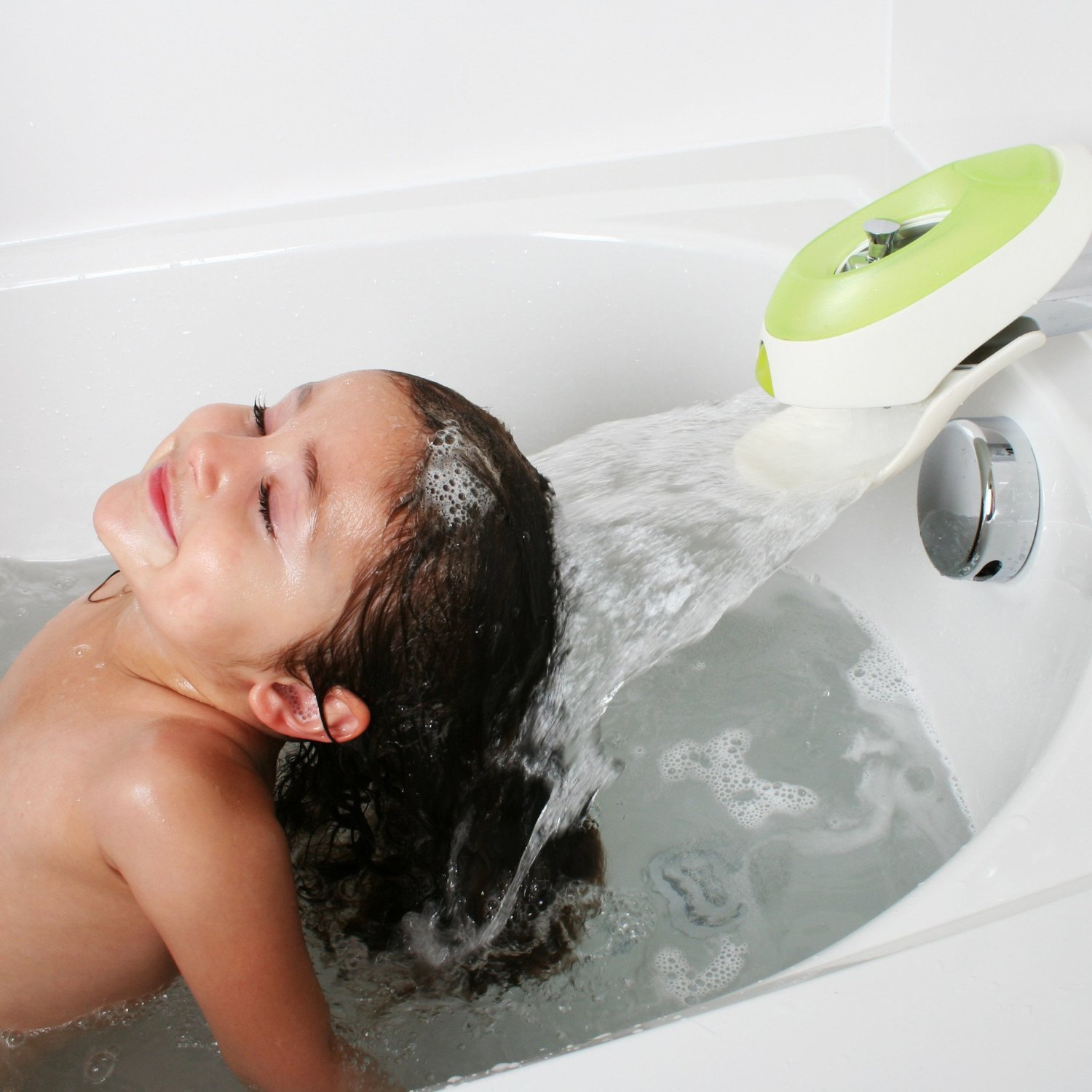 Safe Faucet Green Cover with Bubble Bath Reservoir Dispenses by Boon (Image #3)
