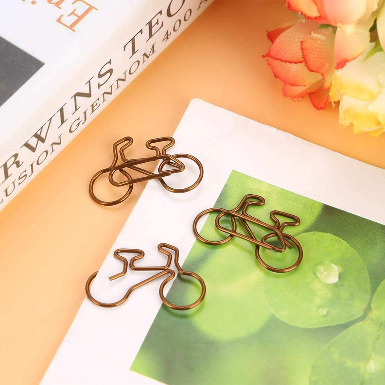 LAQI 20Pcs Clip de documento Forma de Bicicleta Clips de Papel Clips de Papel Marcador Oficina Papeler/ía Escolar Clip Color caf/é