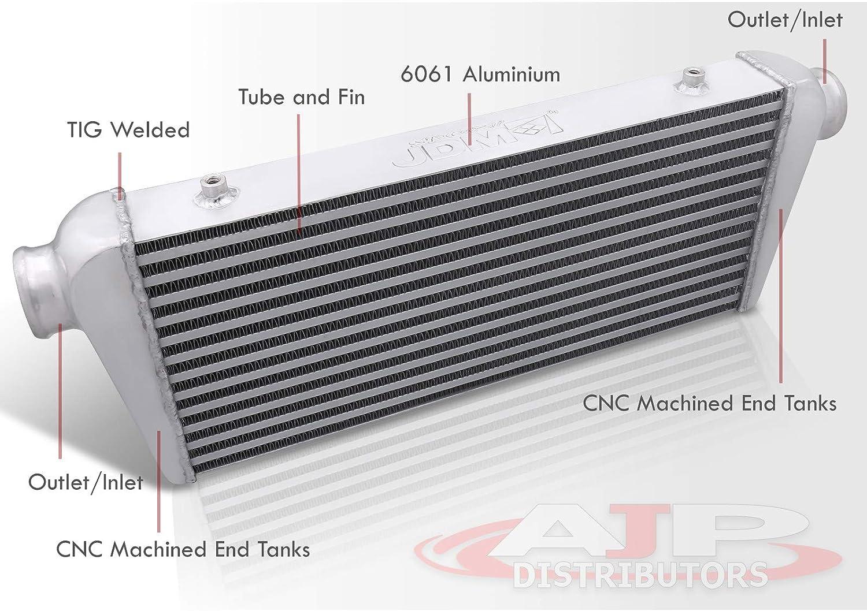 AJP Distributors Performance Upgrade Universal Tube Fin Turbo Turbocharge High Flow Front Mount Intercooler FMIC Racing JDM Sport 27.25 X 9.5 X 2.5 Aluminum Light Weight