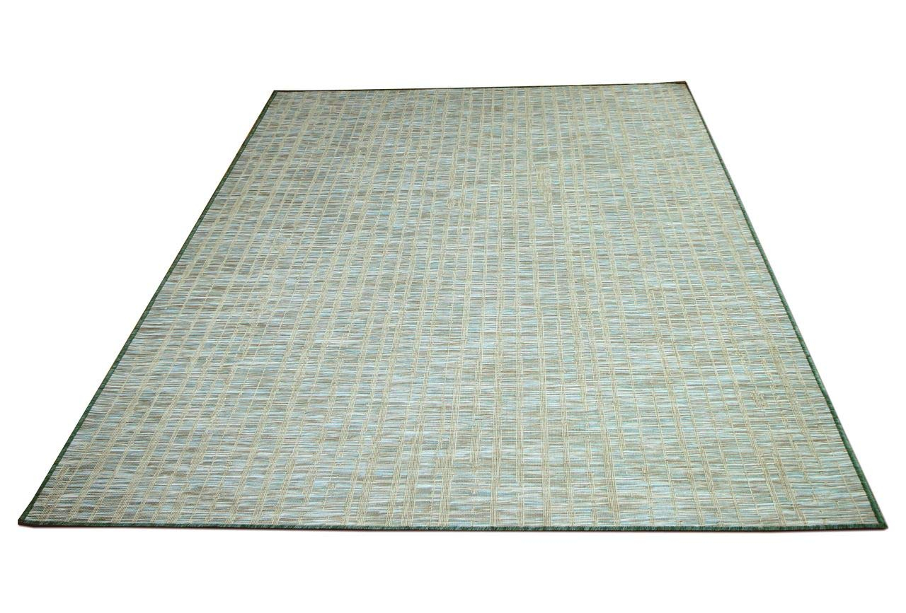 In & Outdoor Teppich Beidseitig Flachgewebe Hampton Streifen Mintgrün in 5 Größen