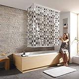 "Kleine Wolke Eckduschrollo Duschrollo inkl. passenden Leerkassetten - 132 + 56 x 240cm - Design ""Mosaik Grau"""