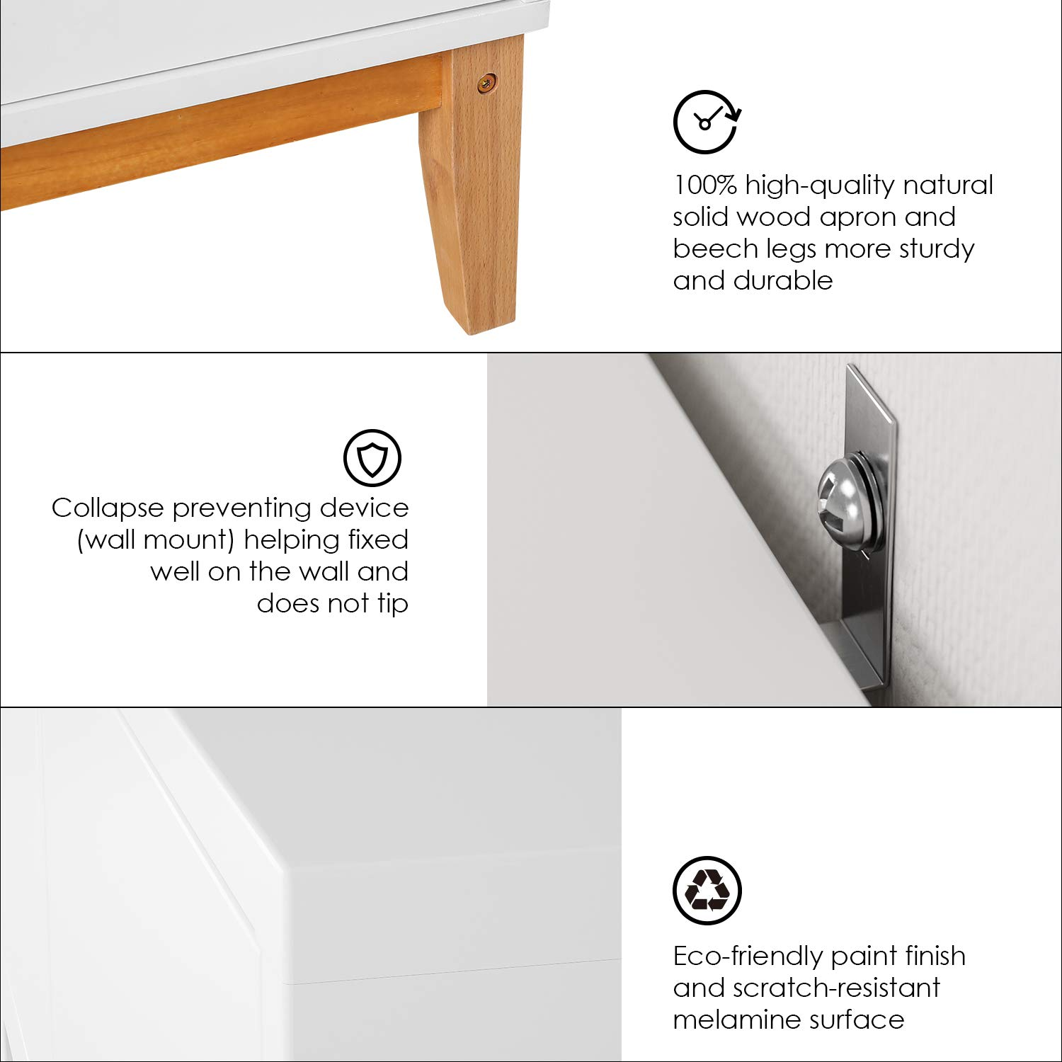 HOMECHO Floor Buffet Sideboard Storage Cabinet Freestanding Console Table Cupboard Chest 2 Door, 3 Drawers and 2 Inside Adjustment Shelf for Hallway, Living Room and Kitchen White Color HMC-MD-004 by HOMECHO (Image #5)