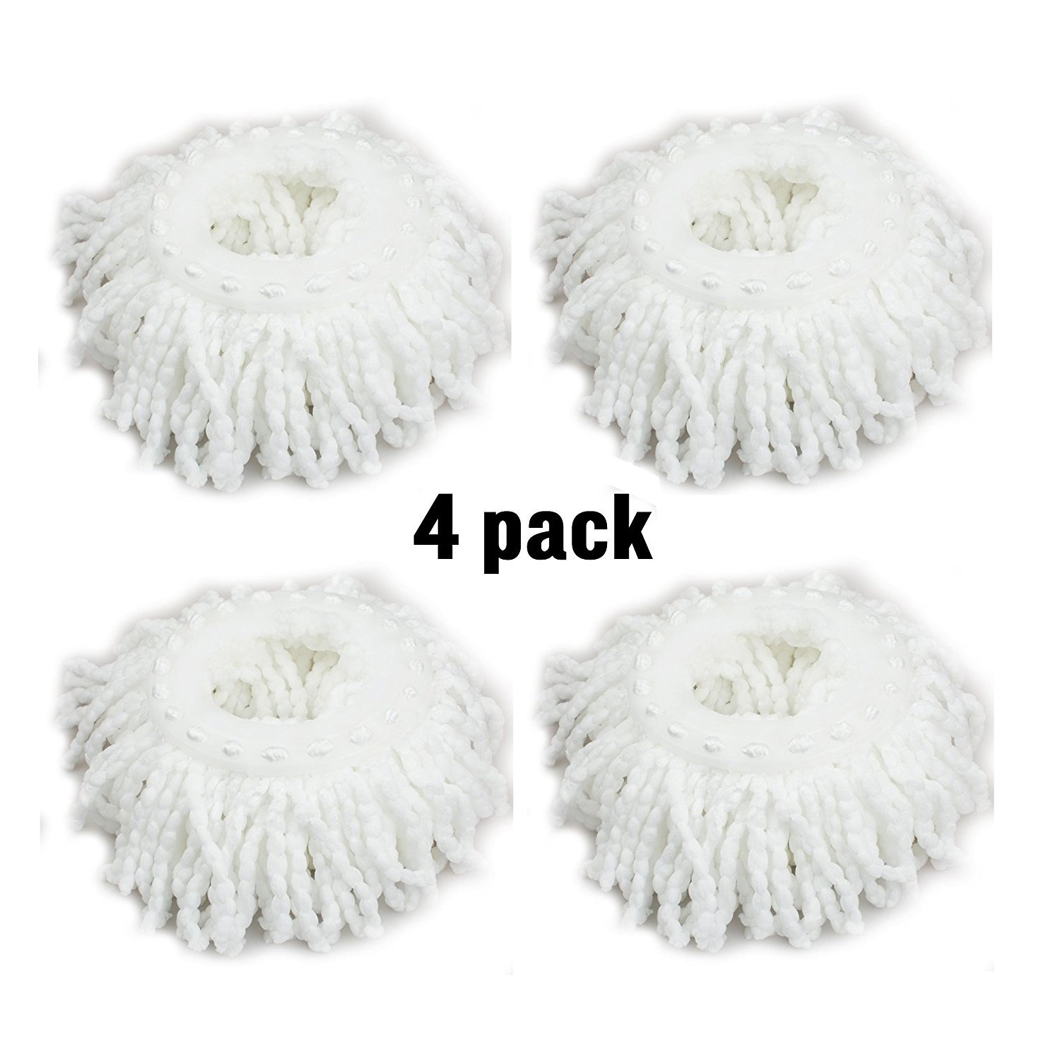 Universal Replacement Mop Head, GFEU 360°Spin Magic Microfiber Round Mop Head Refill Fit Rotating Mop System- Pack of 4, Ultra Absorbent & Machine Washable