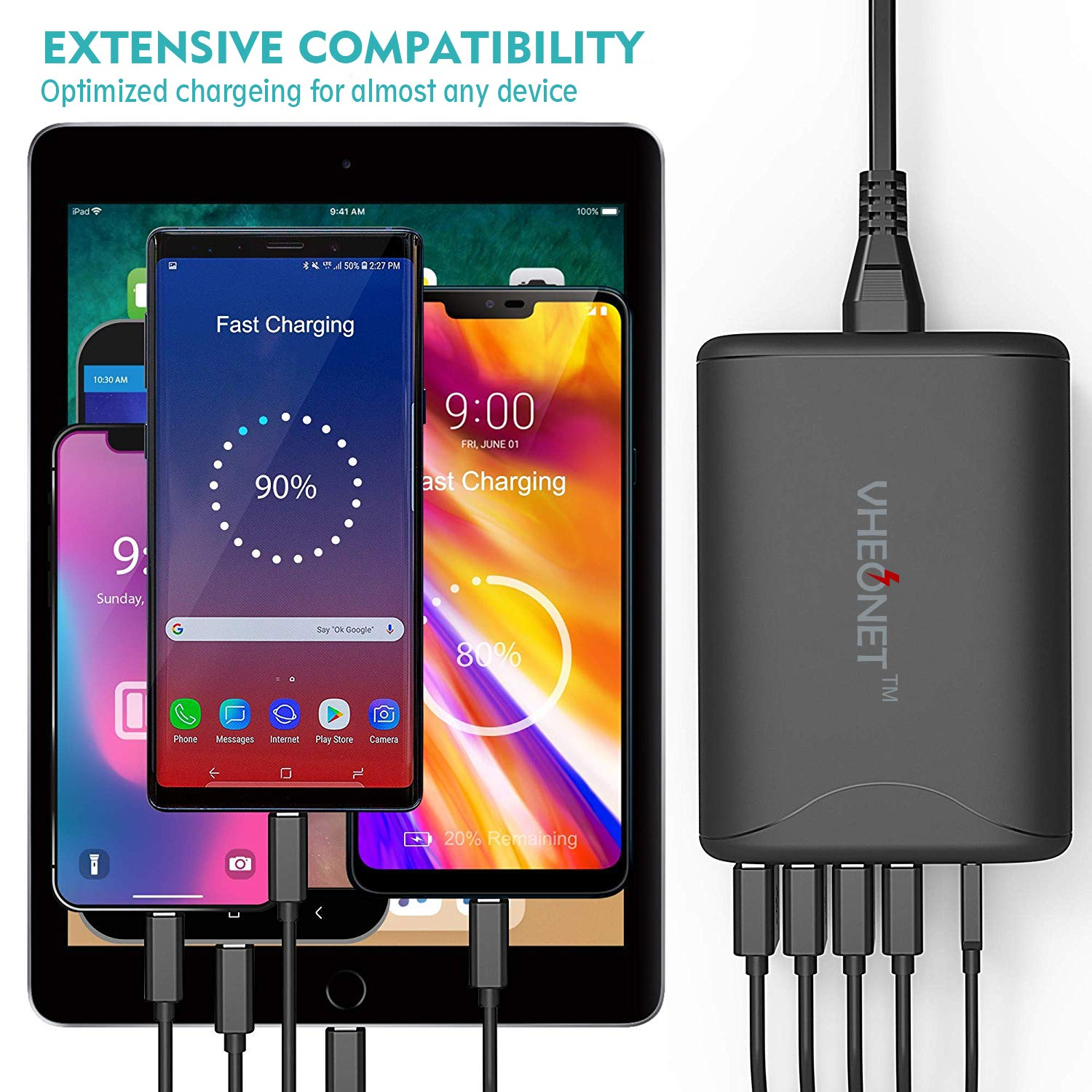 USB C Desktop Charging Station 5 Port PD Wall Charger 60W Fast Charging for iPhone Xs/Xs Max/XR/8/7/6, MacBook, Nexus, Galaxy and More (Black)