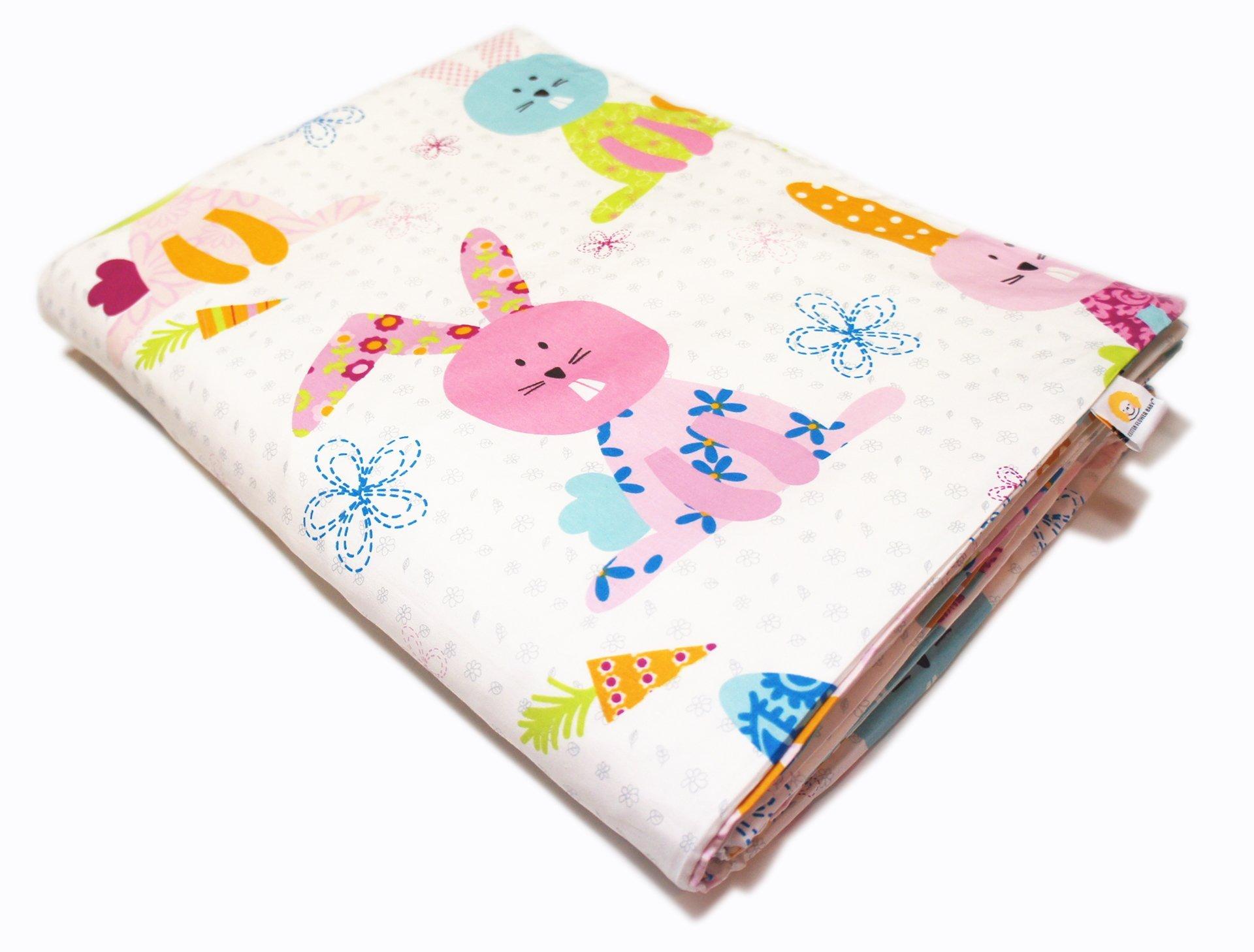 Cotton Flower Toddler Quilt (Quilt + Duvet Cover) (Happy Bunny)