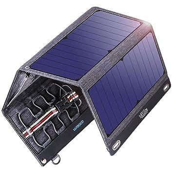 VITCOCO Panel Solar Cargador Portátil, 29W Portatil Cargador Solar Portátil Plegable Impermeable Power Bank con 2 USB de Salida Puertos Smartphone, ...