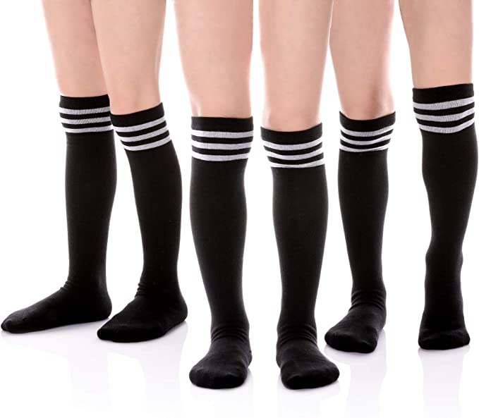Classic Stripe Cotton Over Knee-high Socks for Big Girls 3-12 Year old 6-8 Year Old, 3 Pack Black//White//Dark Blue HERHILLY 3 Pack School Uniform Socks