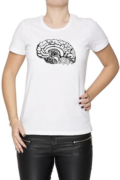 Anatomía Cerebro Mujer Camiseta Cuello Redondo Blanco Manga Corta ...