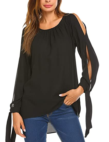 1a387bb2966 Teewanna Womens Casual Blouse Ladies Open Shoulder Plus Size Shirt Tops ( Black, S)