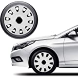 Oshotto OSHO-WC53BW 12-inch Grey and Black Double Paint Finish Universal Fitting-Push Type Car Wheel Cover (Set of 4)