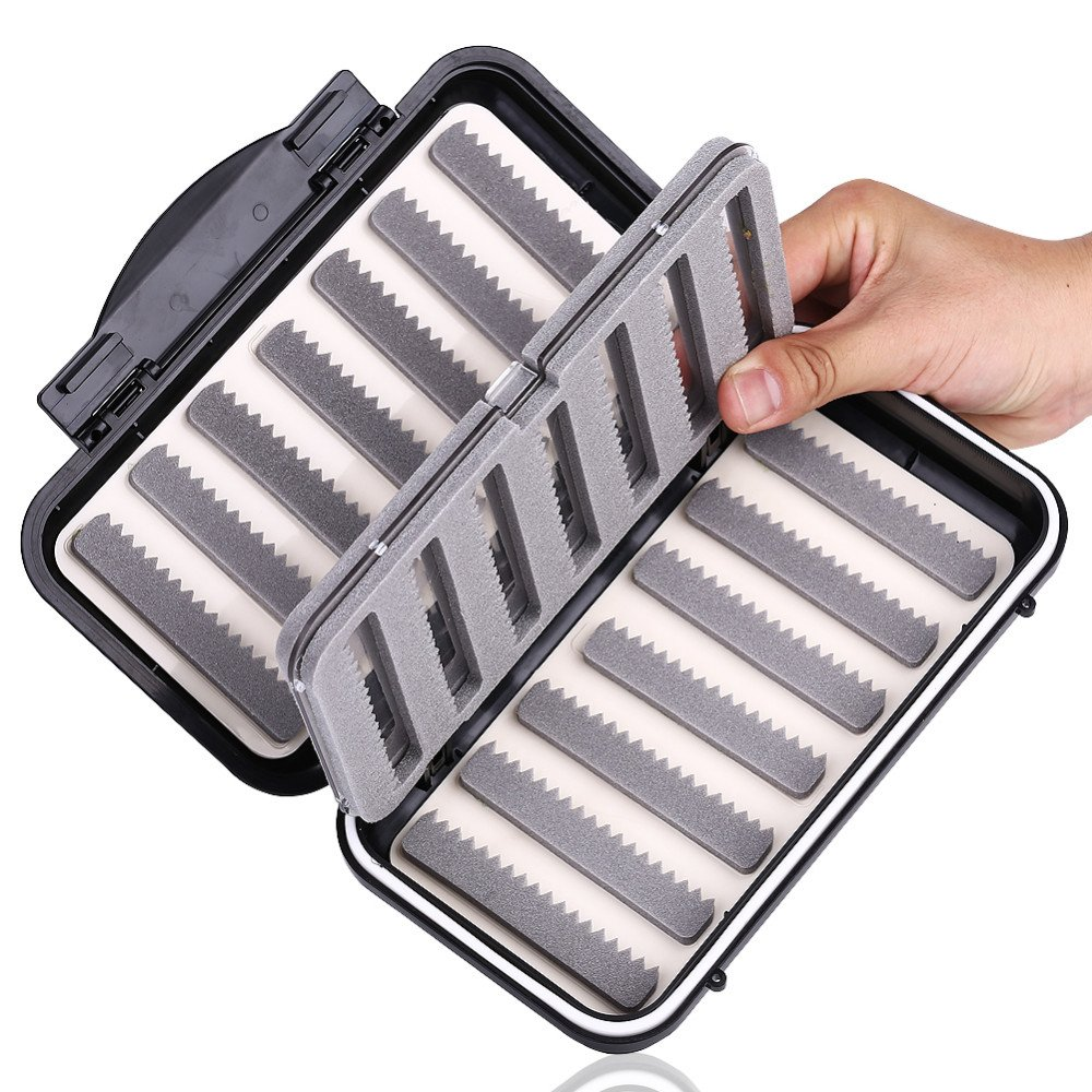 Isafish Fly Boxes for Fly Fishing Waterproof Tackle Box Portable Fishing Files Foam Box With Swing Leaf Bait Storage