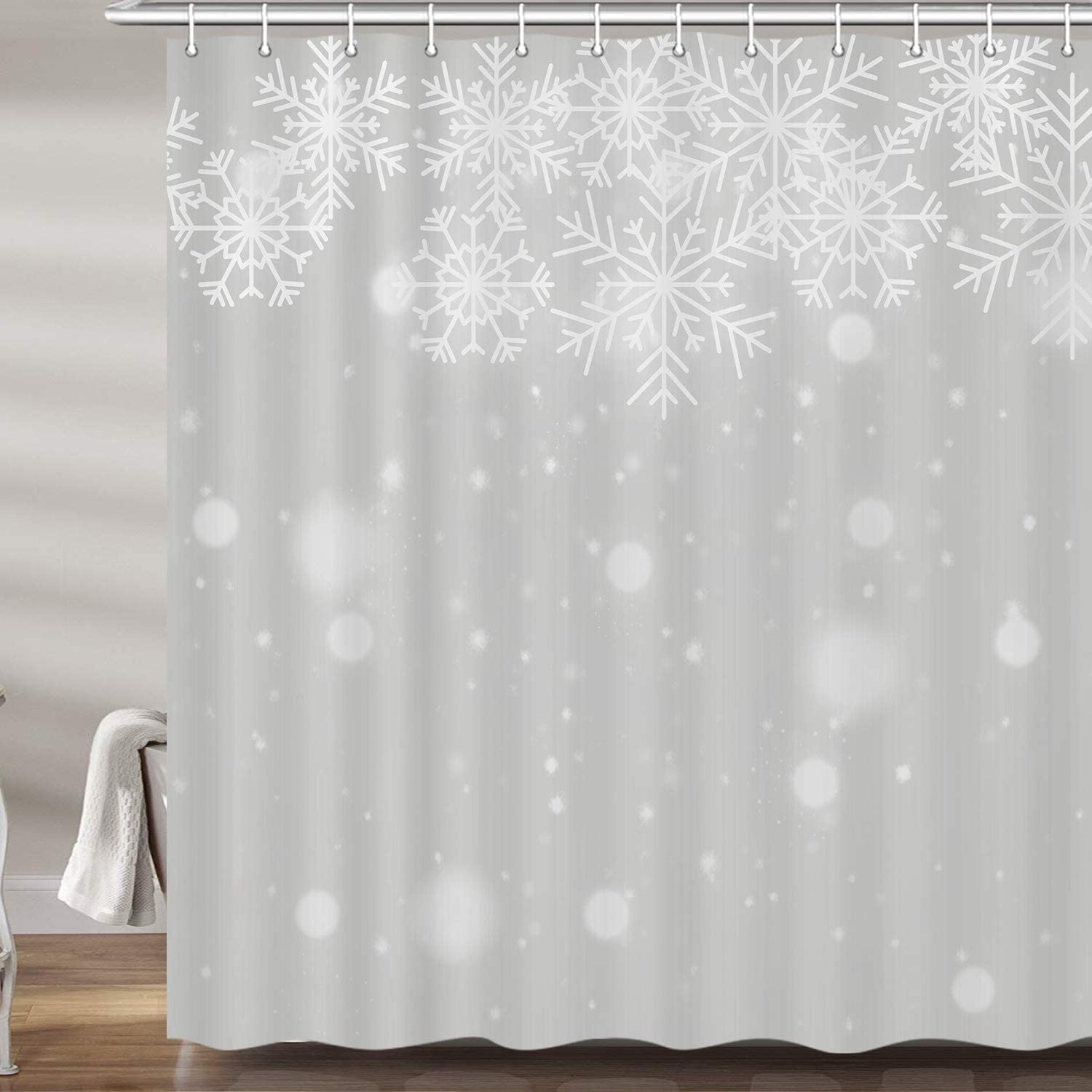 DYNH Christmas Background Shower Curtain Set, Winter White Silver Snowflake Xmas Premium Fabric Bath Curtains, Bathroom Accessories Decor with 12 Hooks, 69X70Inches