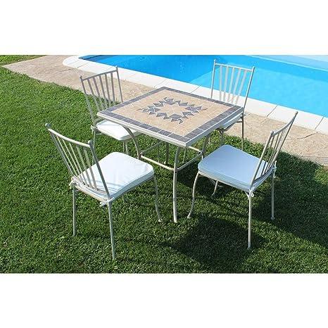 Tavolo Quadrato Con Sedie.Set Tavolo Giardino Quadrato Fisso Con Piano In Mosaico 80 X 80 Con