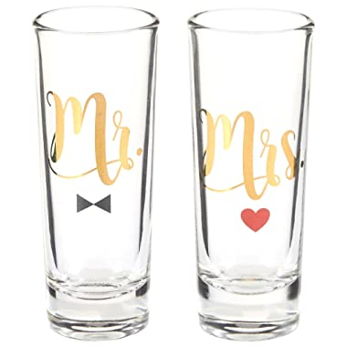 Blue Panda Party Shot Glasses - Mr Mrs Couple Shot Glasses Gold Foil Print Newlyweds, Anniversary, Bridal Shower Engagement - Set of 2, 2 oz Each