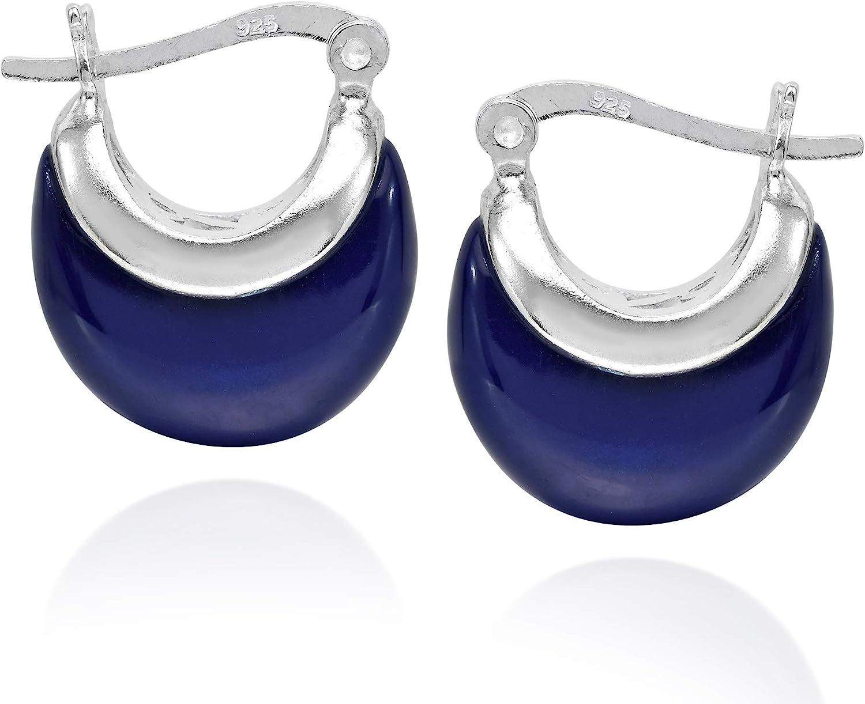 Simulated Blue Lapis Lazuli Crescent Moon 16 mm Hoop .925 Sterling Silver Huggie Earrings