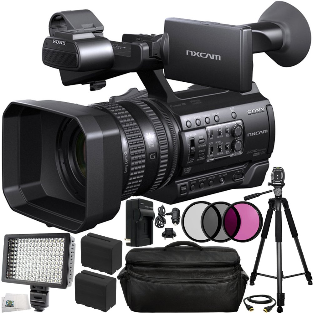 Sony HXR-NX100 HD NXCAM Camcorder 13PC Bundle. Includes 2 Replacement F970 Batteries + AC/DC Rapid Home & Travel Charger + 3PC Filter Kit (UV-CPL-FLD) + Full Size Tripod + 160 LED Video Light + MORE by SSE