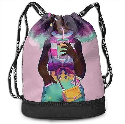 HUOPR5Q Black Drawstring Backpack Sport Gym Sack Shoulder Bulk Bag Dance Bag for School Travel