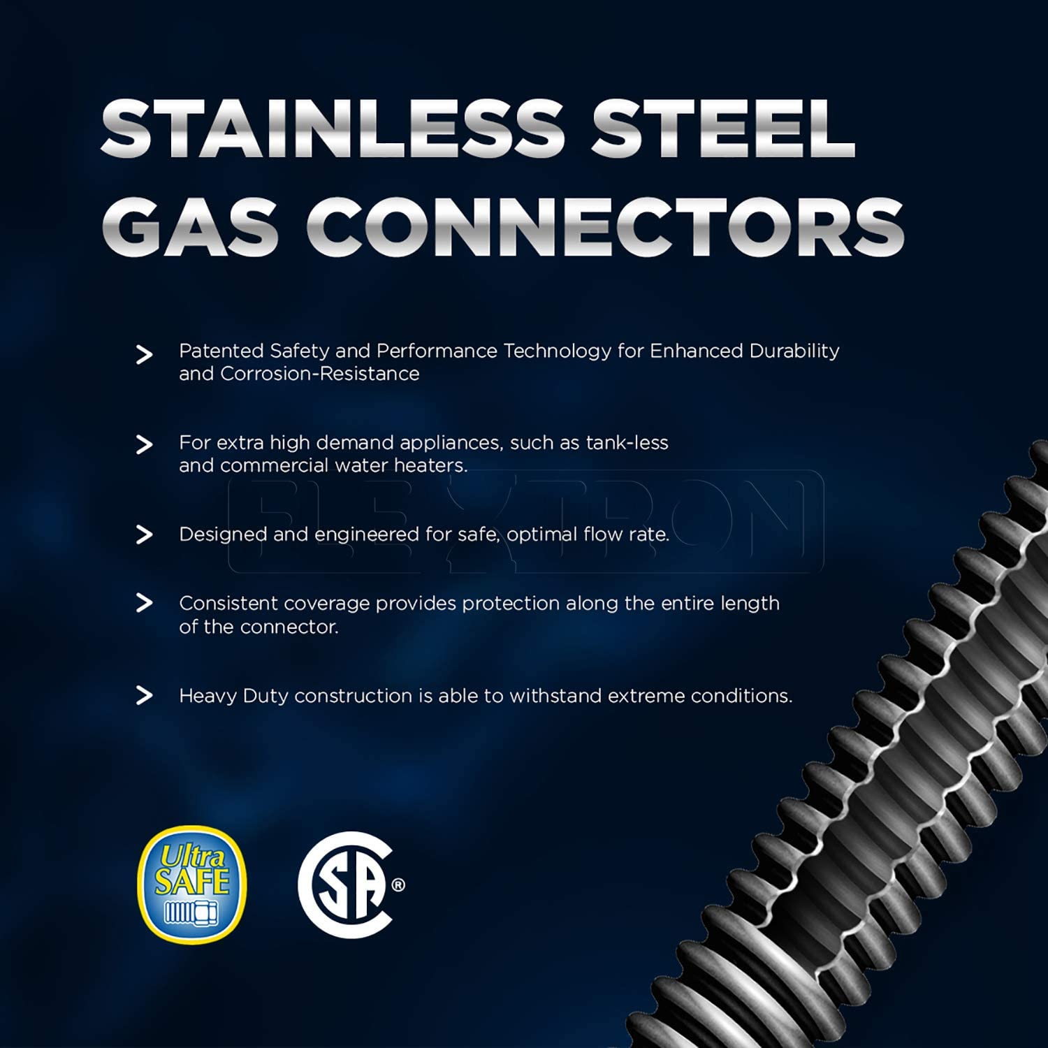 x 30 Length with 3//8 in MIP Fitting 30 Inch Uncoated Stainless Steel Flexible Connector Highcraft GUHD-TT38-30H Gas Line Hose 1//2 O.D