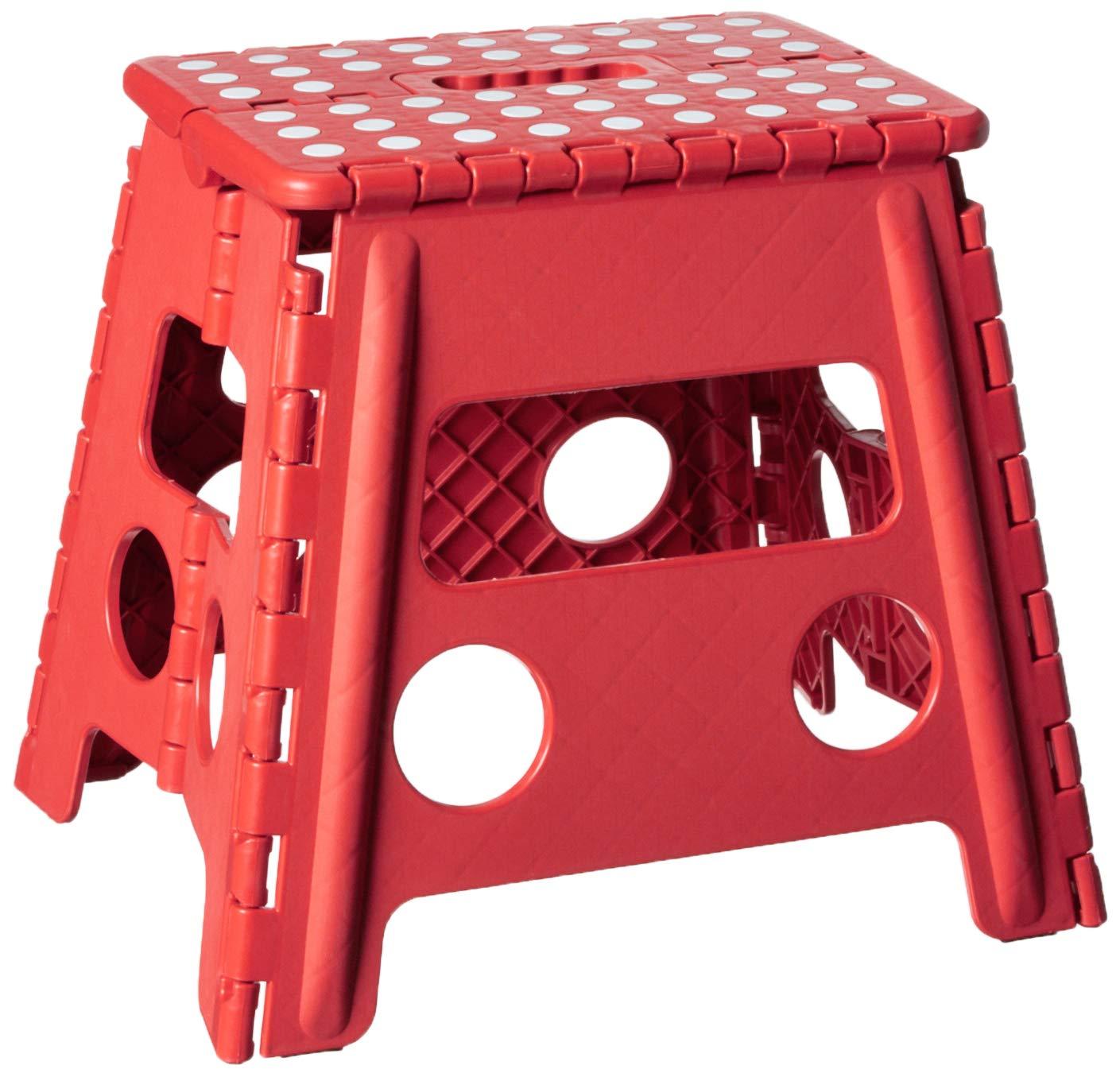 Fabulous Home Basics Large Folding Kids Step Stool With Non Slip Dots Red Ibusinesslaw Wood Chair Design Ideas Ibusinesslaworg