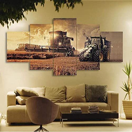 JESC 5 Piece Canvas On Farm Tractor Canvas Picture Painting Decor Print Poster Wall Art