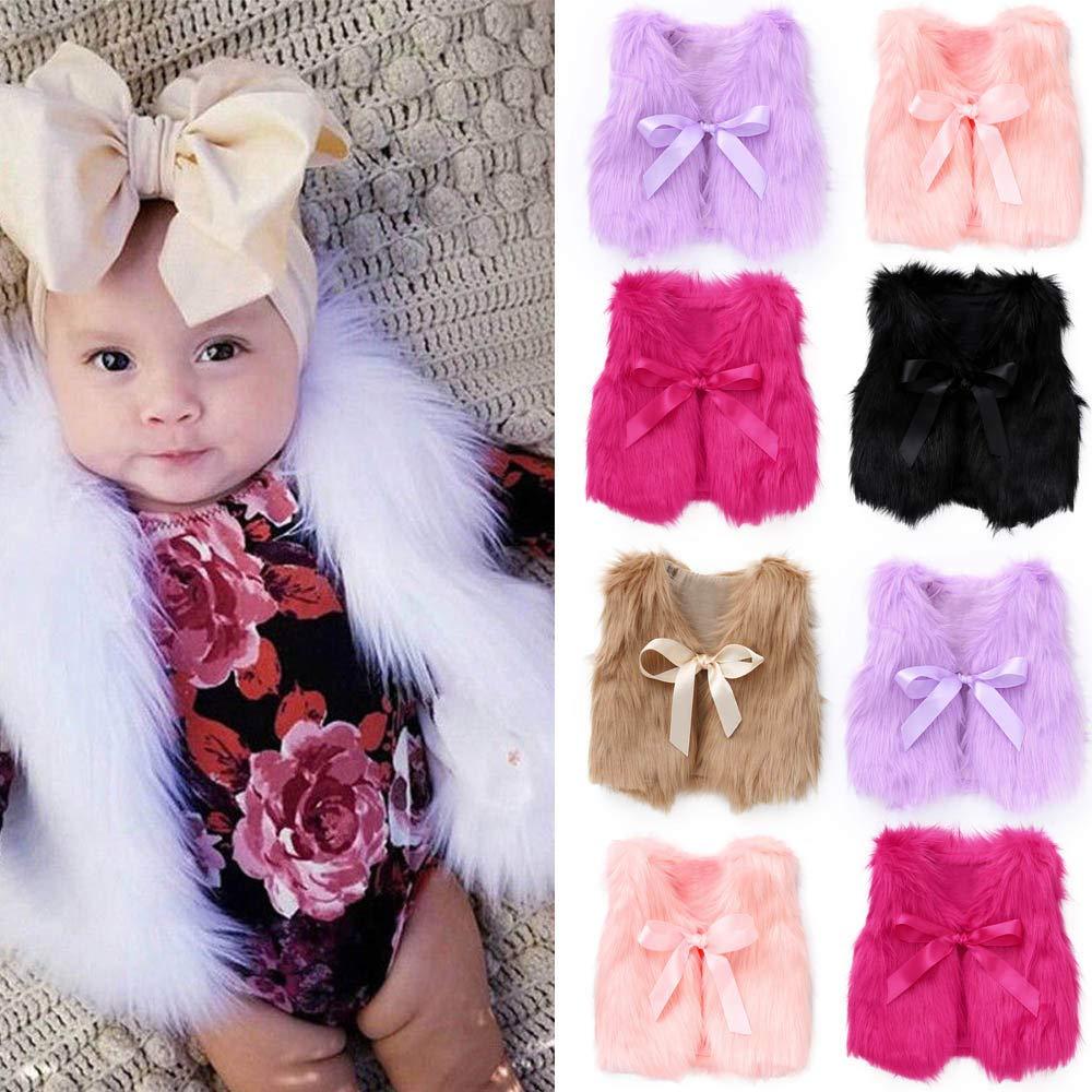 H.eternal Warm Gilet Toddler Kids Girl Outwear Vest Faux Fur Elegant Bowknot Ribbon Waistcoat Jacket Fluffy Coat