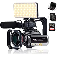 Tiang 4K camcorder met digitale zoom 64 x, aansluiting met telescoop/LED-licht, microfoon en andere accessoires (DV-tas…