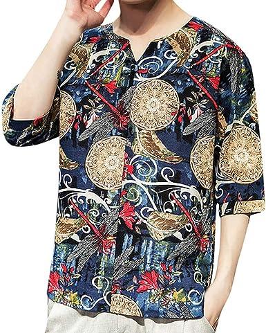 MXJEEIO 💖 Hombres Camisas Hawaianas algodón con Estampado de Loto ...