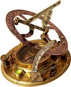 MAH Top Grade 5 Inch Perfectly Calibrated Large Sundial Compass with Box. C-3050