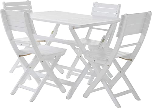 GDF Studio Vicaro | 5 Piece Wood Outdoor Folding Dining Set | Perfect
