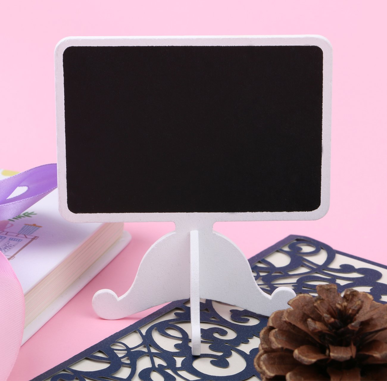 Dedoot Mini Rectangle Chalkboards Signs Stand, Pack of 20 Wood Small Chalkboard Place Cards with Easel Stand, Perfect for Daily Home Decoration, Weddings, Party, Table Numbers, Food Signs - White by Dedoot (Image #3)