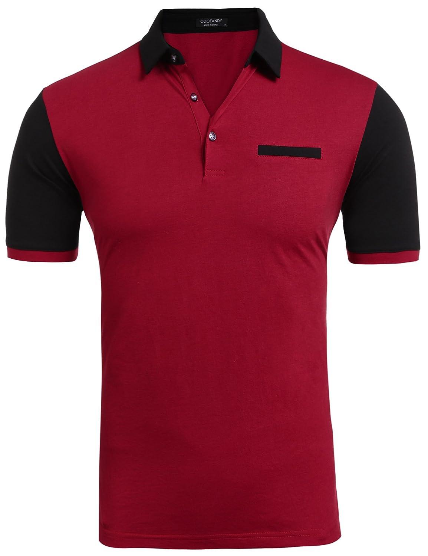 Coofandy Herren Poloshirt Kurzarm Patchwork T-shirt Freizeit Sport Stylisch:  Amazon.de: Bekleidung