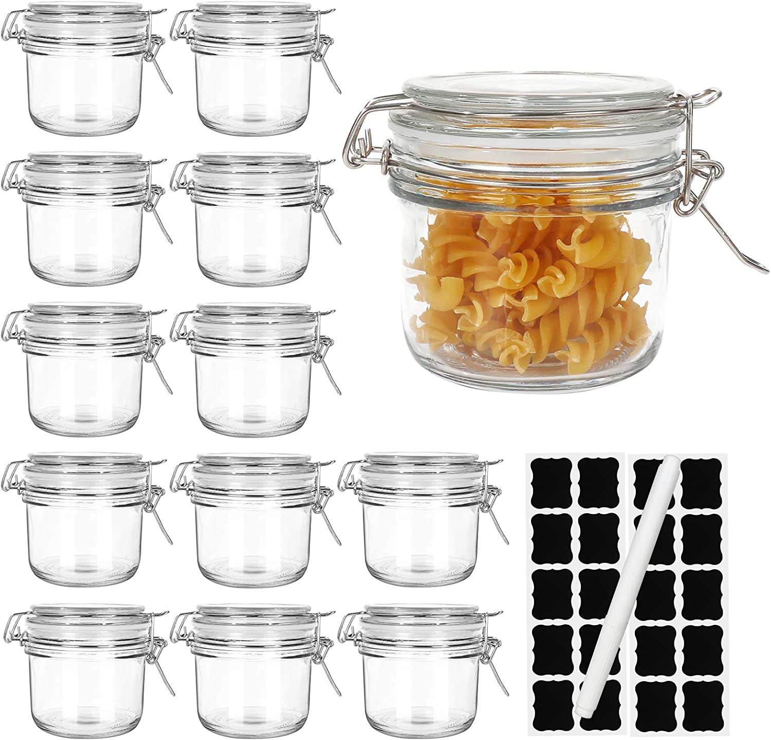 5oz Airtight Jars,Spice Jars, Leak Proof Storage Container Jar,Glass Food Jars with Labels & Chalkboard Pen and Silicone Gaskets, Set of 12