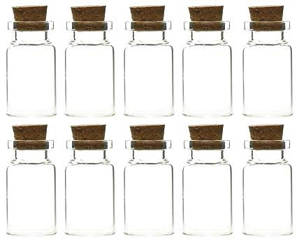 FiveSeasonStuff® Mini transparente botellas/frascos de cristal con tapón de corcho para aromas,