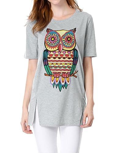 Allegra K Mujer Cuello Redondo Manga Corta Jersey Camiseta Holgado Camiseta
