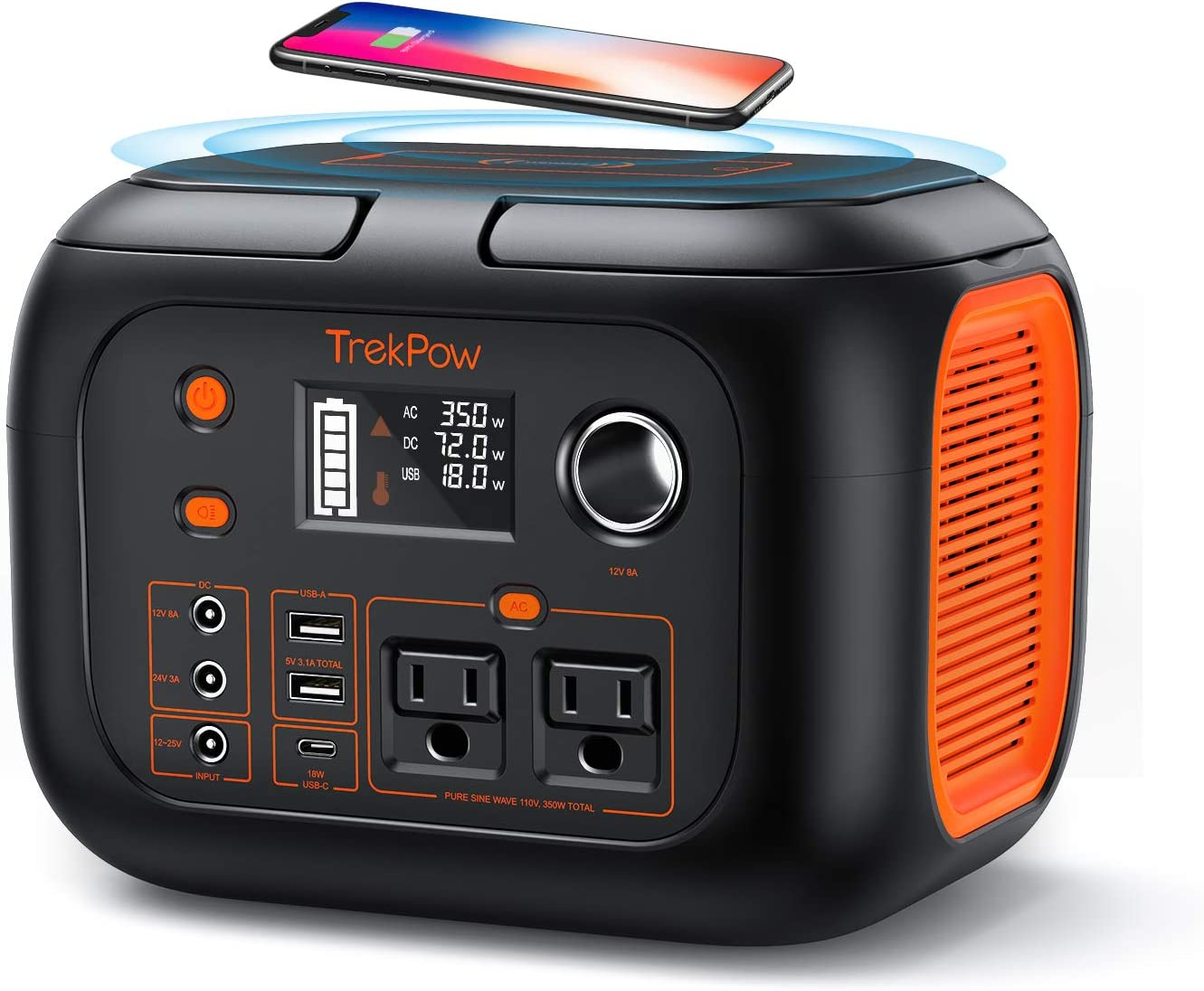 350W Portable Power Station, TrekPow 296Wh 80000mAh Solar Generator, Lithium Battery Emergency Power Station with 2 AC Outlet 2 DC 3 USB Ports, Power Supply with Flashlight for Outdoor Adventure