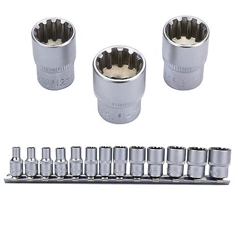 Zoll Werkzeug Nüsse 3//8 Zoll Steckschlüssel Stecknüsse 12-kant Vielzahn Nuss Set